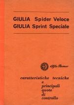 ALFA ROMEO GIULIA SPIDER VELOCE GIULIA SPRINT SPECIALE CARATTERISTICHE TECNICHE E PRINCIPALI QUOTE DI CONTROLLO