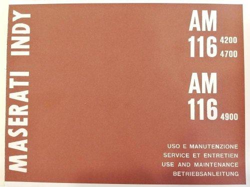 MASERATI INDY AM 116 4200 4700 4900 USO E MANUTENZIONE (RISTAMPA)