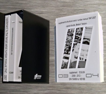 SUPPLEMENT TO THE FERRARI SERIAL NUMBER MANUAL 1947 - 2007 (THREE VOLUMES WITH FOLDER)
