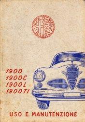 ALFA ROMEO 1900 1900 C 1900 L 1900 TI USO E MANUTENZIONE (ORIGINALE)